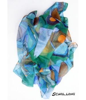 Verschiedene blau Töne.  Schal lang mit Natur Akzent