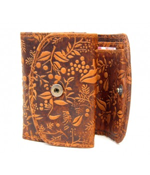 Blumenmotiv Damen Geldbörse, geprägtes Leder
