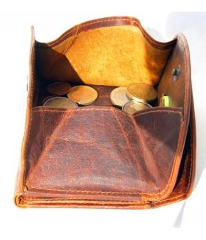 Herren Geld- Börse, Voll Leder, Wiener Schachtel, halbrund