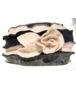 Winter Damen Mütze, creme-schwarz