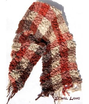 Stretch Schal flauschig weich, warm, orange,creme.