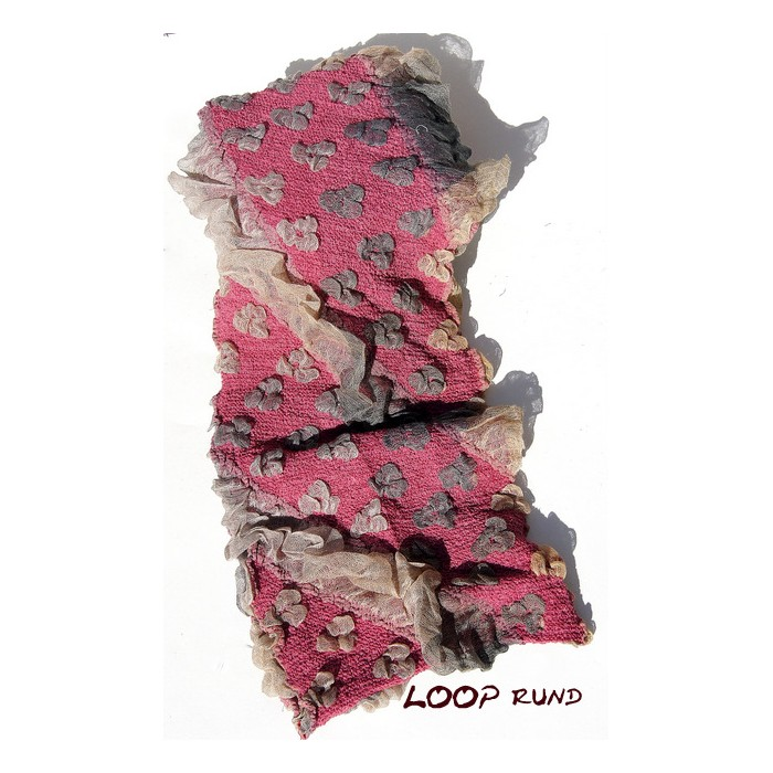 Stretch Schal  Loop rund flauschig weich, pink-rosa