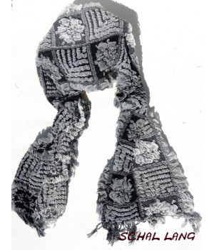 Stretch Schal flauschig weich, warm, weiß-schwarz