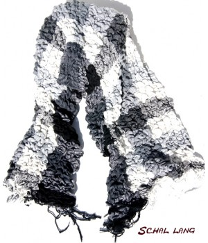 Stretch Schal flauschig weich, Schwarz-weiß-grau