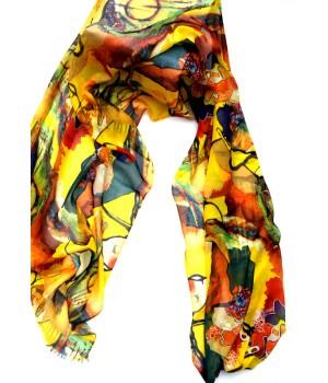 Fantastische Farben, Schal lang, gelb-bunt