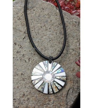 Kette aus Perlmutt und Abalone Auflage Shiva Auge