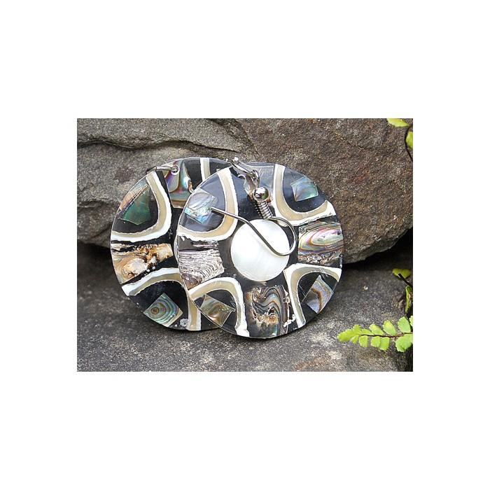 Kleine runde Ohr Ringe Abalone mit Perlmutt