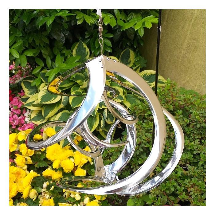 30 cm Durchmesse Sputnik Edelstahl Windspiel glänzend