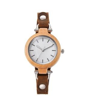 Holz Uhr mit Lederband