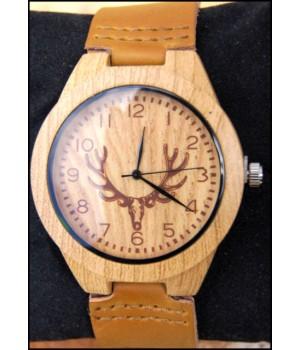 Holz Uhr Lederband