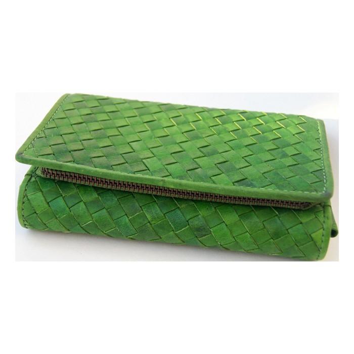 Geflochtenes grünes Portemonnaie 17,0cm breit